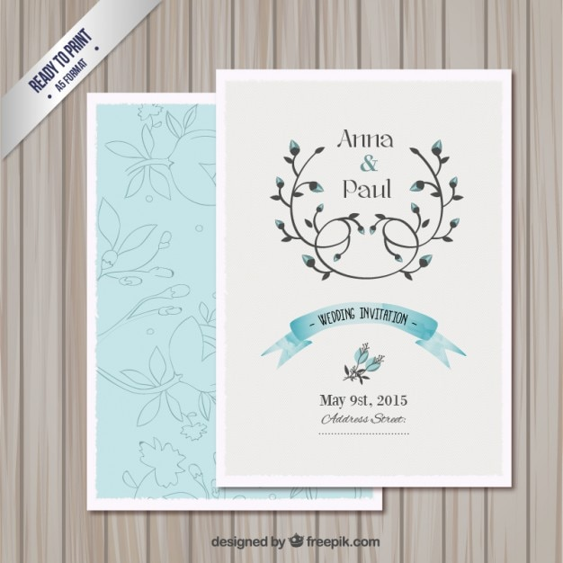 Wedding invitation card template Vector – Free Templates for Invitation Cards