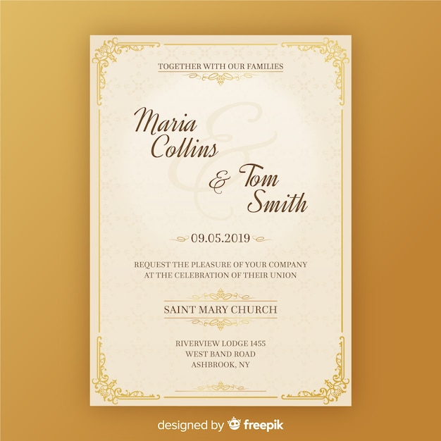 Wedding Invitation Card Template Vector Free Download