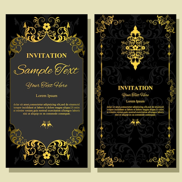 Wedding invitation card template. Premium Vector