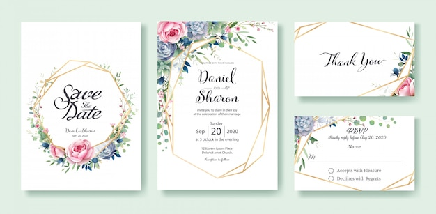 Beautiful Wedding Invitation Templates: Wedding Invitation Card Template Vector