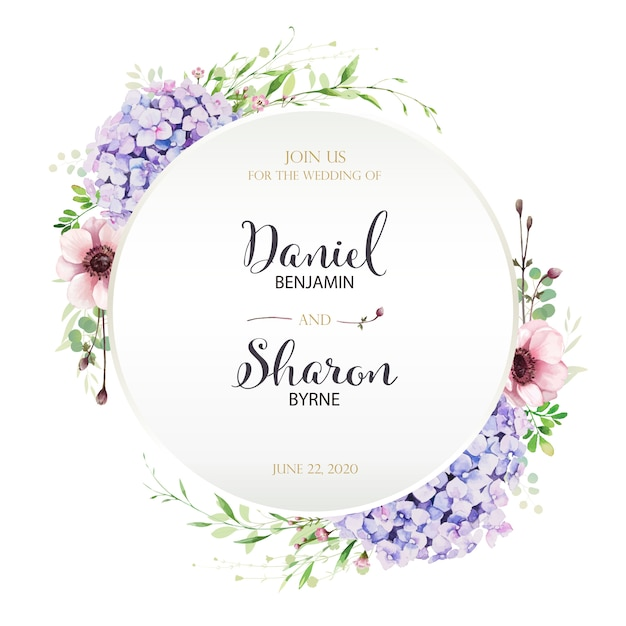 Wedding invitation card template Premium Vector