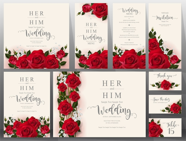 Wedding invitation card templates set. Premium Vector
