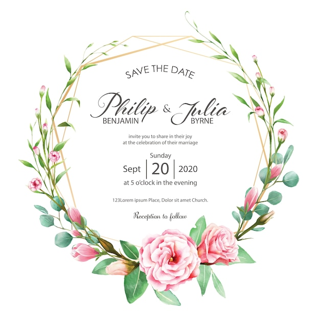 Wedding invitation card. watercolor style. vector. Premium Vector