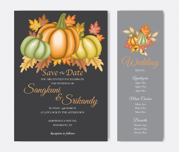 秋の紅葉の結婚式の招待カード Premiumベクター