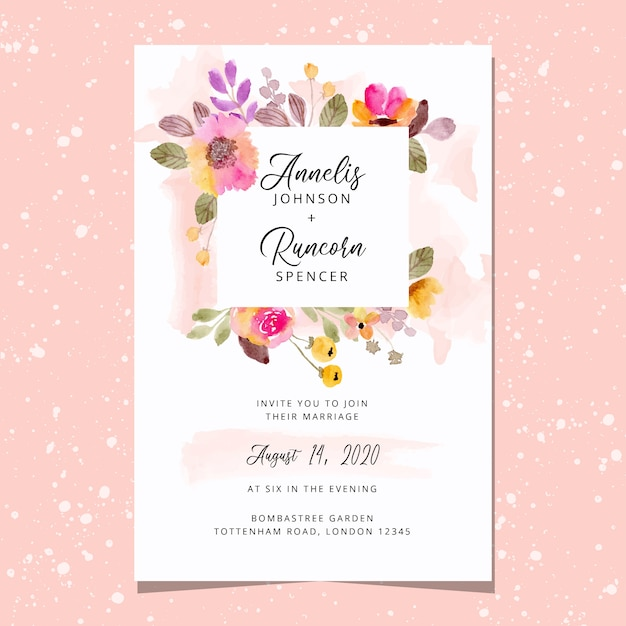 Wedding invitation card with beautiful floral frame watercolor Premium Vector