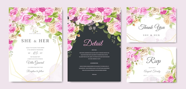 Wedding invitation card with beautiful floral and leaves template Premium Vector