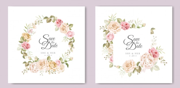 Wedding invitation card with beautiful floral template ...