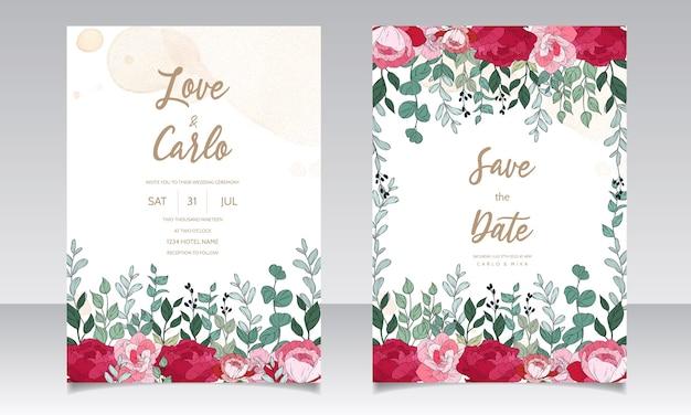아름 다운 꽃으로 결혼식 초대 카드 무료 벡터