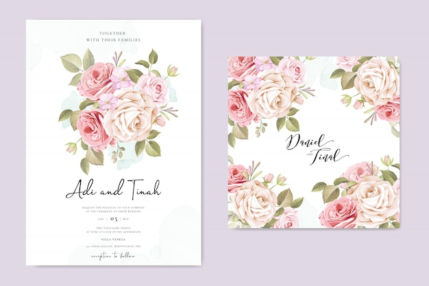 Wedding invitation card with beautiful flowers and leaves Premium Vector