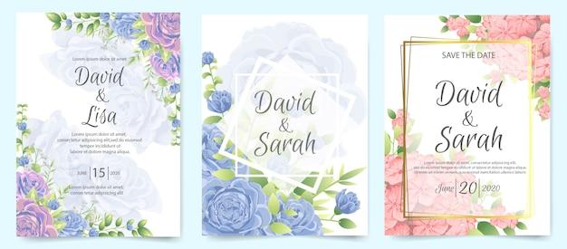 Wedding invitation card with beautiful flowers Premium Vector