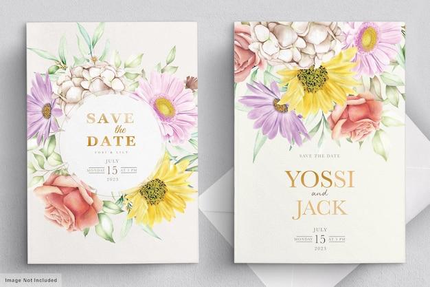 Carta di invito a nozze con bellissimi fiori Vettore gratuito