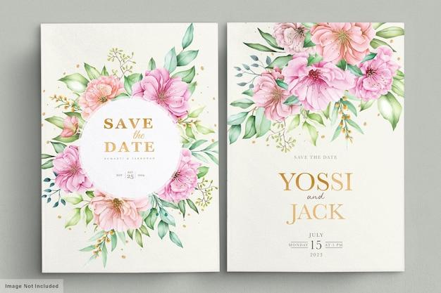 Свадебное приглашение с красивыми цветами Бесплатные векторы