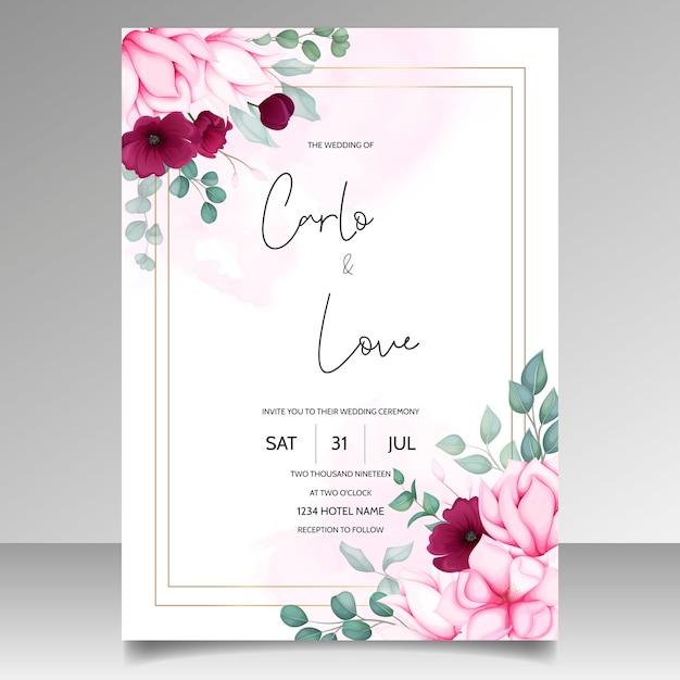 美しいマグノリアの花と結婚式の招待カード 無料ベクター