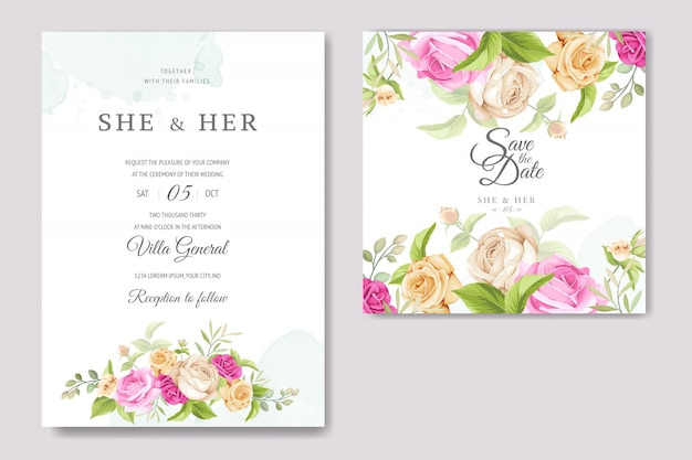 Wedding invitation card with beautiful roses template Premium Vector