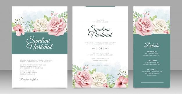 Wedding invitation card with beautiful roses Premium Vector