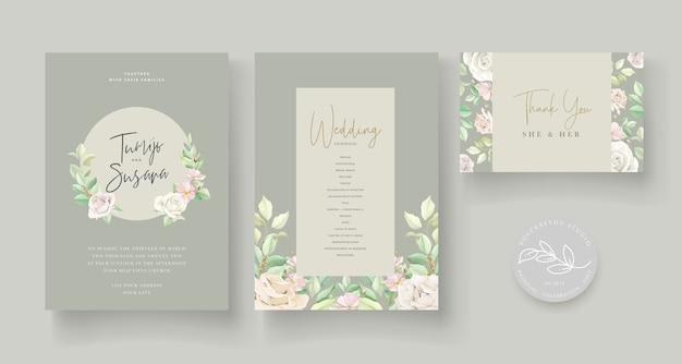 Свадебное приглашение с красивыми розами Бесплатные векторы
