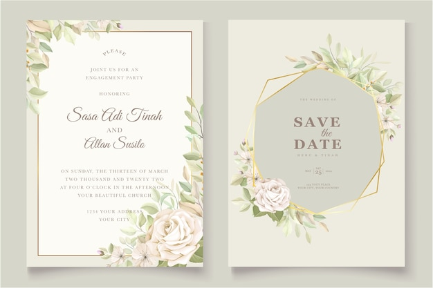 Wedding invitation card with beautiful roses Free Vector