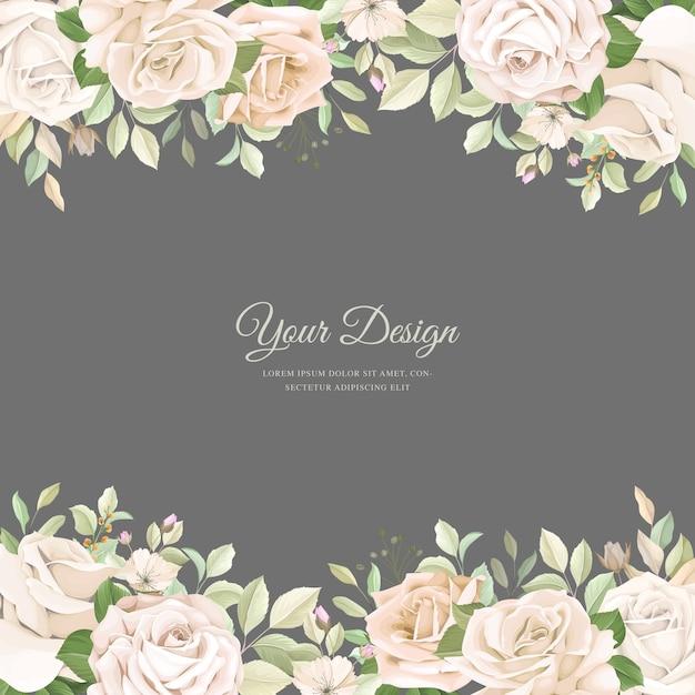 Carta di invito a nozze con bellissime rose Vettore gratuito