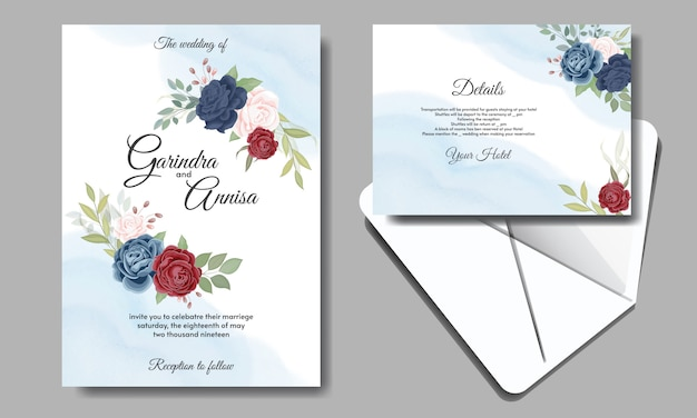 Wedding invitation card with beautiful roses Premium Vector