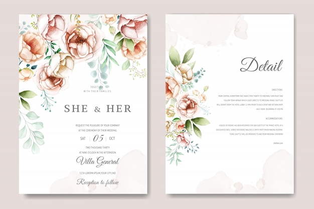 Wedding invitation card with beautiful watercolor floral and leaves Premium Vector