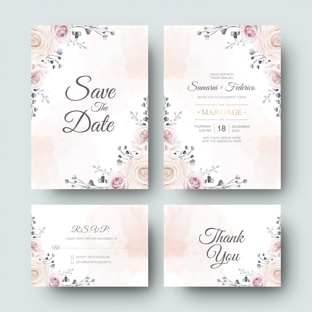 Wedding invitation card with beautiful watercolor flower and leaves Premium Vector