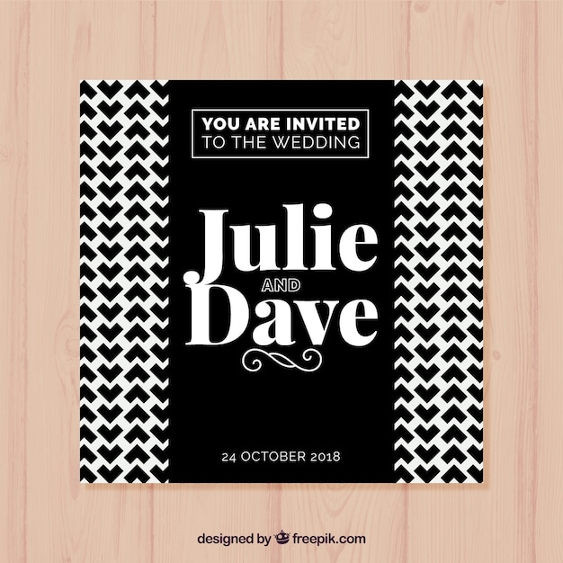 Wedding Invitation Card With Black And White Pattern Vector