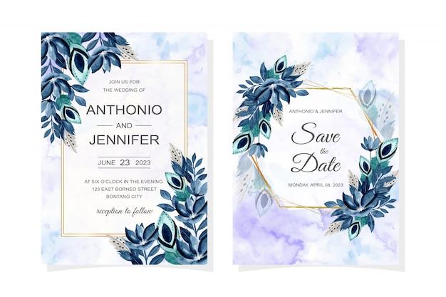 푸른 꽃과 깃털 수채화 결혼식 초대 카드 프리미엄 벡터