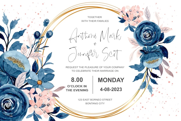 Wedding invitation card with blue pink floral watercolor