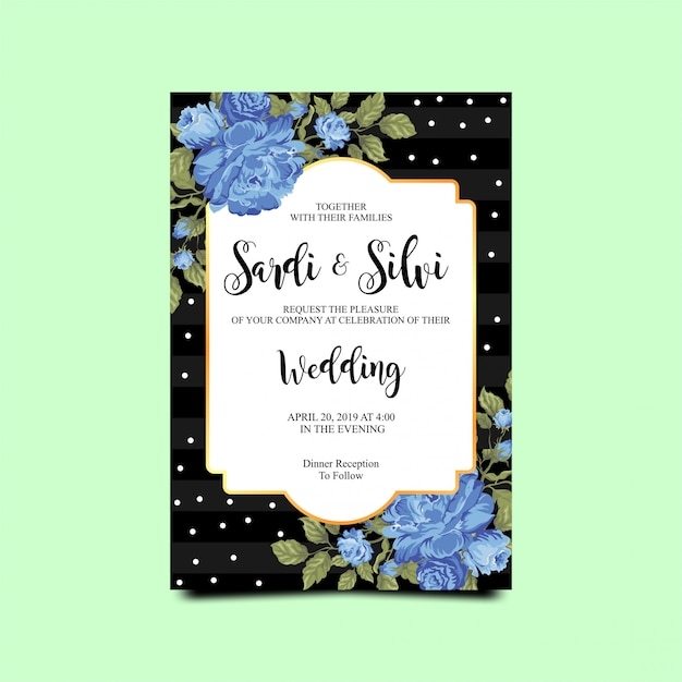 Wedding invitation card with blue roses Premium Vector