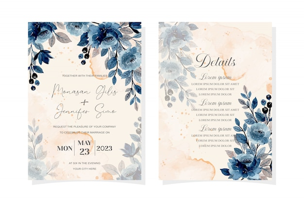 Wedding invitation card with blue watercolor floral abstract background Premium Vector