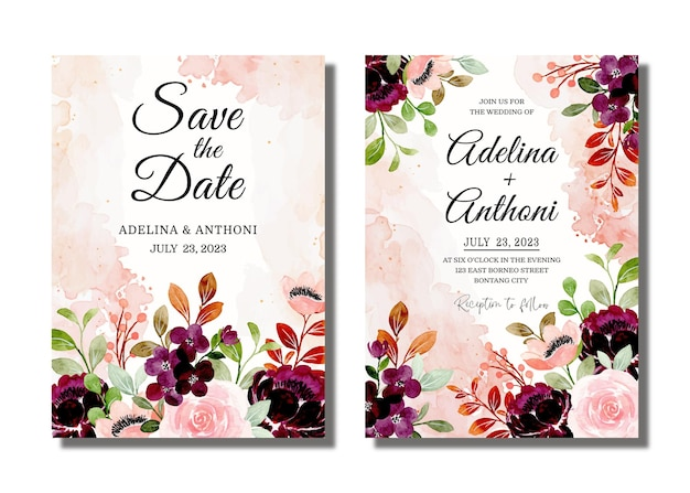 Wedding invitation card with burgundy floral watercolor