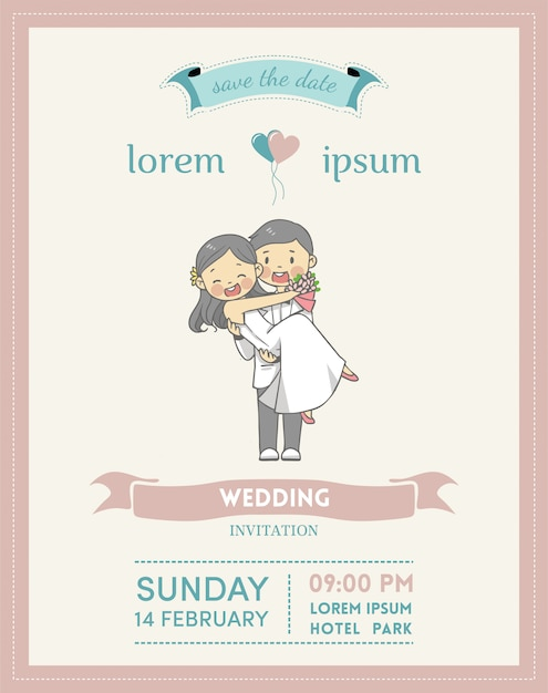 Wedding Invitation Card With Cartoon Couple Character And Pastel
