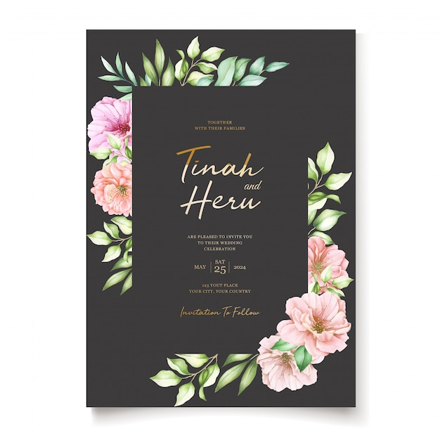 Wedding invitation card with cherry blossom floral design Free Vector
