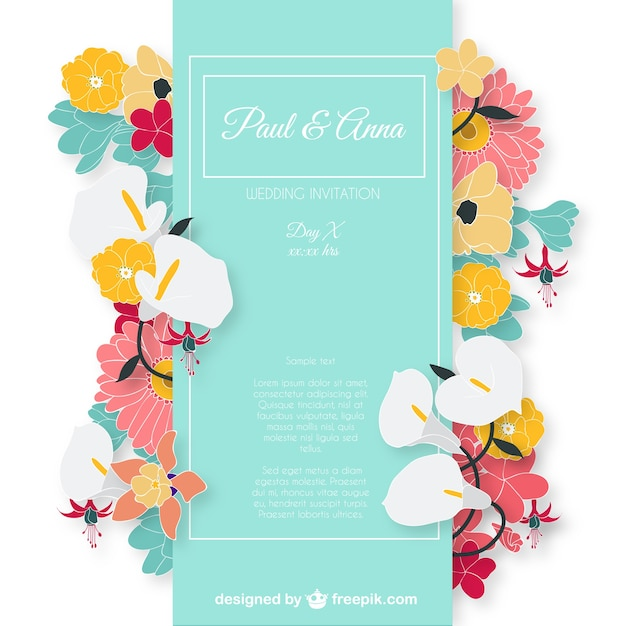 Wedding Invitation Card With Colorful Flowers Vector