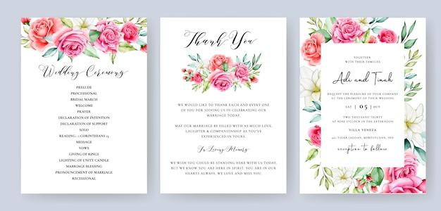 Wedding invitation card with colourful floral and leaves Premium Vector