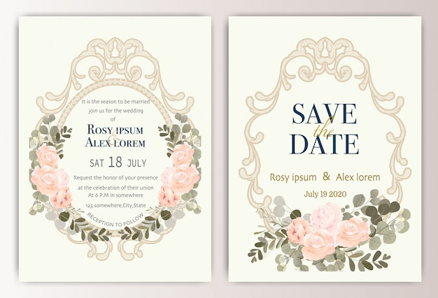Wedding invitation card with colourful floral and leaves. Premium Vector