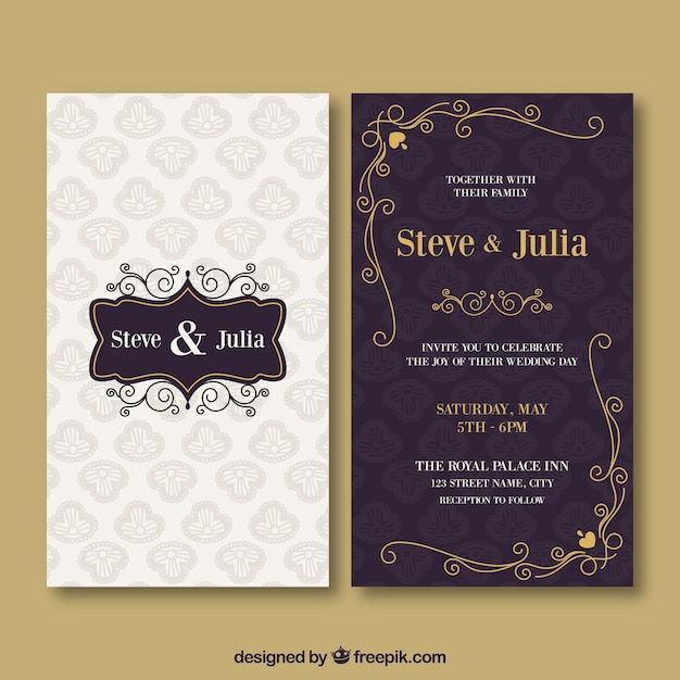 Wedding Invitation Card With Different Ornaments Vector