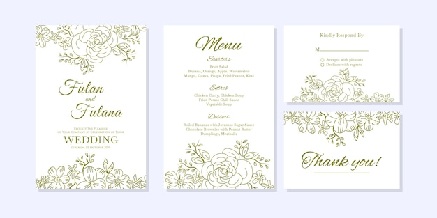 Wedding Invitation Card With Doodle Sketch Outline Floral