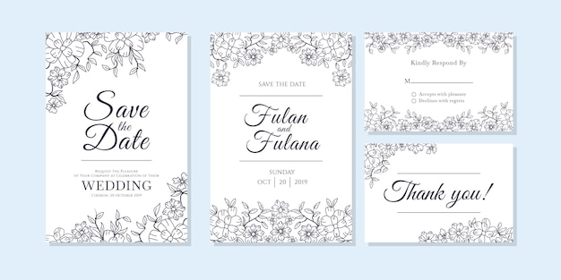 Wedding invitation card with doodle sketch outline floral and flower ornamental design style template Premium Vector