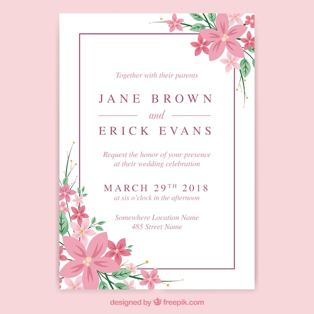 Wedding Invitation Card With Elegant Flowers Vector Free Download