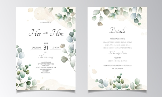 Wedding invitation card with eucalyptus leaves template Premium Vector