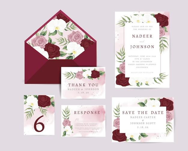 Свадебное приглашение с цветочным орнаментом и листьями Бесплатные векторы