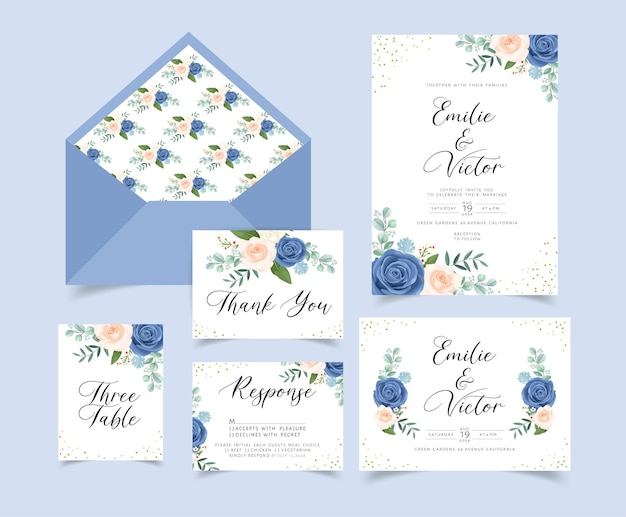 꽃과 나뭇잎 장식 결혼식 초대 카드 무료 벡터