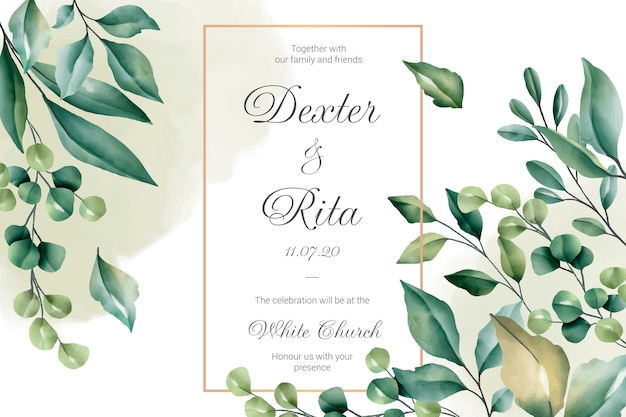 Wedding Invitation Card With Floral Borders Vector Free
