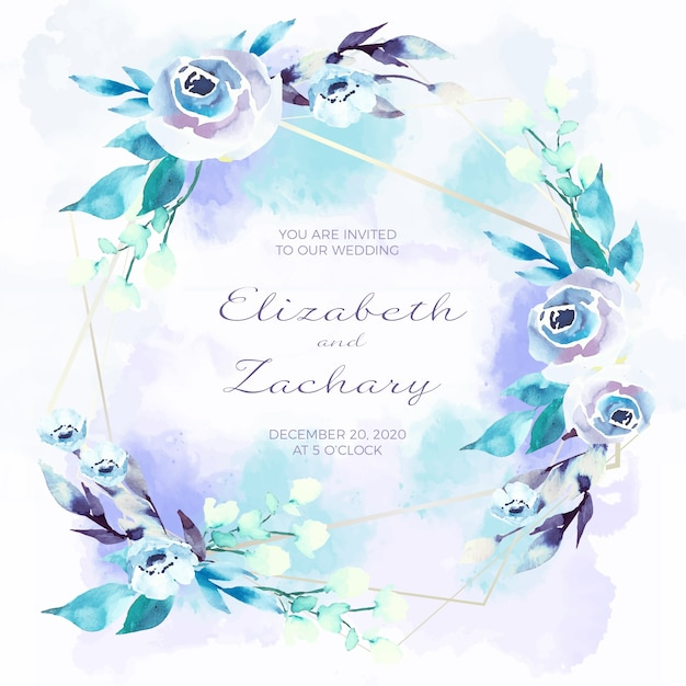 Carta di invito di nozze con cornici floreali Vettore gratuito