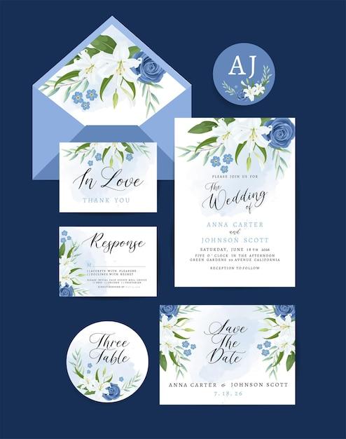 Carta di invito a nozze con decorazioni floreali e foglie Vettore gratuito