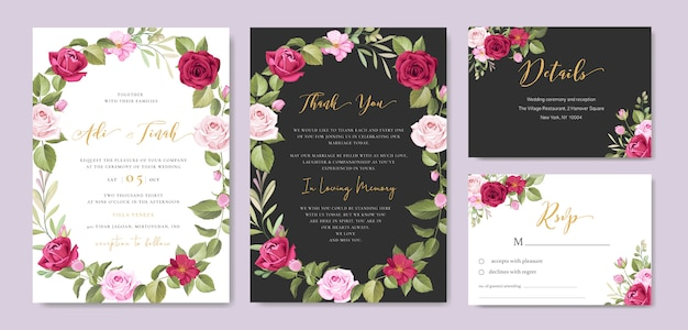 Wedding invitation card with floral and leaves frame template Premium Vector