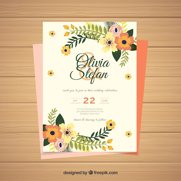 Wedding invitation card with floral\ ornaments