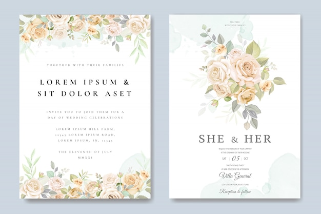 Wedding invitation card with floral template Premium Vector