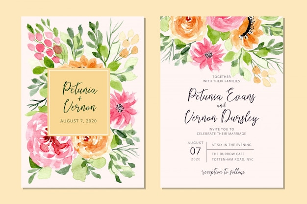 Wedding invitation card with floral watercolor background Premium Vector